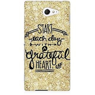 RAYITE Start Each Day Premium Printed Mobile Back Case Cover For Sony Xperia M2 S50h