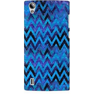 RAYITE Blue Chevron Pattern Premium Printed Mobile Back Case Cover For Vivo Y15