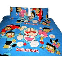 Sweet Home Doraemon Double Bed Sheet With 2 Pillow Covers