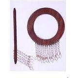 HomeSazawat Beautiful Round Shape Curtain Wooden Lock (set Of 2 ) White Beads