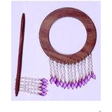 Beautiful Round Shape Curtain Wooden Lock (set Of 2 ) Purple Beads
