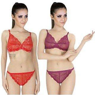 4354042655 Buy SK Dreams Multi Color Lace Set Of 2 Women S Bra   Panty Sets ...