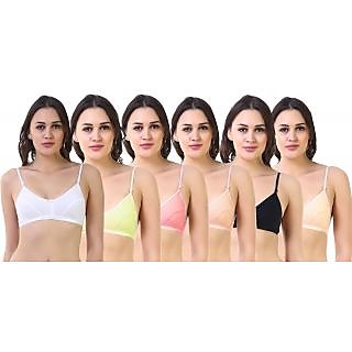 SK Dreams Multi Color Poly Cotton Set Of 6 Women'S Bra Combo