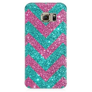 RAYITE Glitter Print Chevron Premium Printed Mobile Back Case Cover For Samsung S6 Edge G9250
