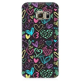 RAYITE Colourful Hearts Sketch Premium Printed Mobile Back Case Cover For Samsung S7 Edge