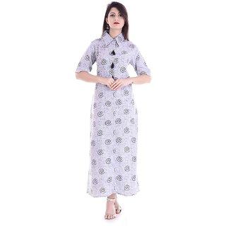 PMM Creation White Plain Cotton Stitched Kurti for Women