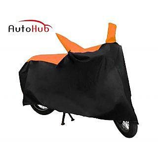 Ultrafit Bike Body Cover With Mirror Pocket Custom Made For Mahindra Flyte - Black & Orange Colour