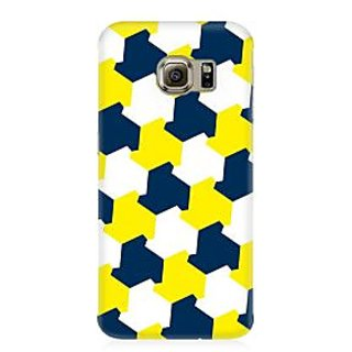 RAYITE Yellow Blue Geometric Premium Printed Mobile Back Case Cover For Samsung S6 Edge Plus