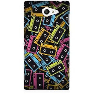 RAYITE Cassette Pattern Premium Printed Mobile Back Case Cover For Sony Xperia M2 S50h