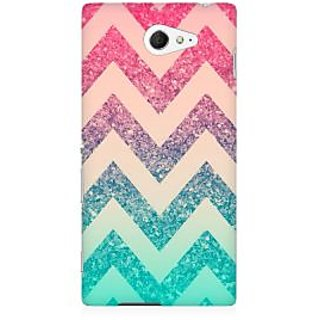 RAYITE Colourful Chevron Premium Printed Mobile Back Case Cover For Sony Xperia M2 S50h