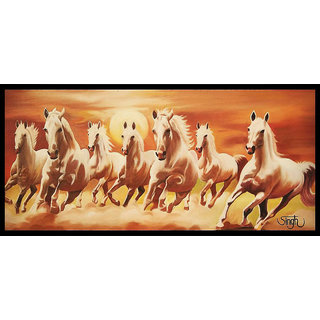 Seven Horses Running (Hand Made Canvas oil Painting)
