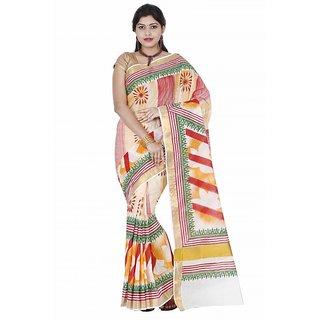 Fashionkiosks Weaved Zari border Obstract design painted red kasavu Cotton Kerala  Saree with Blouse 4028