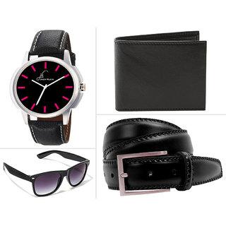 Jack Klein Black Round Dial Analogue Wrist Watch , Black Wallet , Black Belt And Glasses