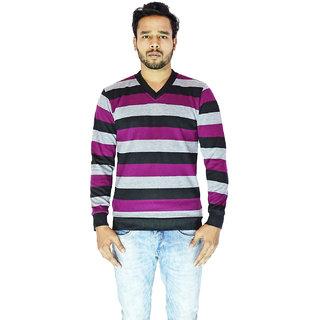 CALIBRO Men's Purple-Black V Neck Sweater
