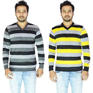 CALIBRO Men's Multicolor Color V Neck Sweater