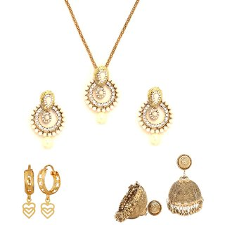 Traditional Combo of Best Selling Pendant and Set with Jhumka Earrings and Hooped Earrings by GoldNera