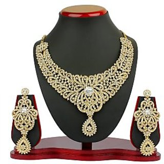 VK Jewels Ravishing Gold Plated Necklace with Earrings- NKZ 1051G [VKNKZ1051G]