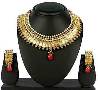 VK Jewels Laxmi Gold Plated Necklace with Earrings- NKS 1052G [VKNKS1052G]
