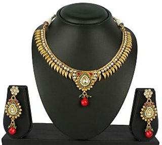 VK Jewels Leafy Gold Plated Necklace with Earrings- NKS 1053G [VKNKS1053G]