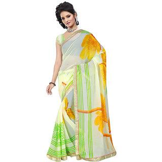 Aradhya Fashion Designer Printed Georgette Green Sari