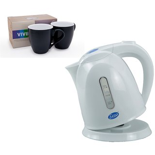 Glen GL 9007 Electric Kettle+ Alda 2 Mug Set S90 Red COMBOS