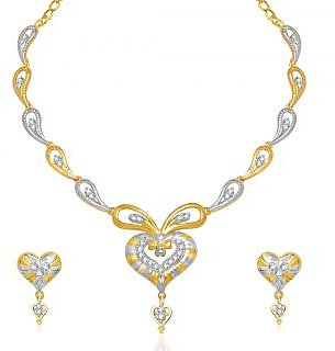VK Jewels Grand Heart Necklace with Earrings- NKS1208G [VKNKS1208G]