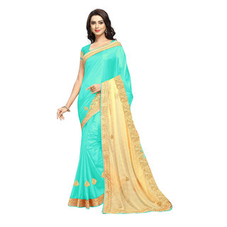 Aradhya Fashion Designer Embroidered Silk Turquoise Sari