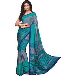 Aagaman Fashion Grey Crepe Printed Saree With Blouse