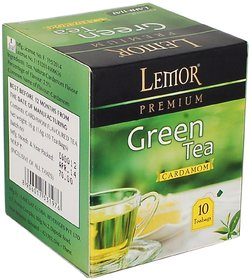 Lemor Cardamom Flavored Green Tea Bag box (One Pack of 10 Teabag pieces) for Healthy Indian Beverage Drinkers (Brand Out