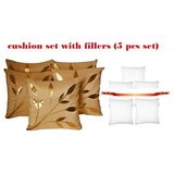 Leaves Patch Cushion Beige With Fillers(5 Pcs Set)