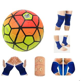 RetailWorld  Ordem Orange/Yellow Football (Size-5) with Fitness Items Combo (5 Items)