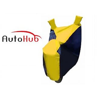 Ultrafit Two Wheeler Cover Without Mirror Pocket With Sunlight Protection For Honda Livo - Black & Yellow Colour