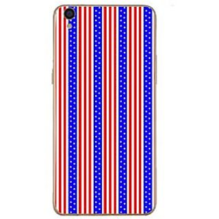 Fuson Designer Phone Back Case Cover Oppo F1 Plus ( Vertical Line Pattern Blue And Red )