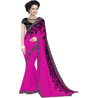 Aradhya Fashion Designer Embroidered Georgette Magenta Sari