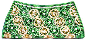 Abqa Crystal Studded Clutch With Intricate Bead Work