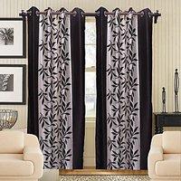Sweet Home Beautiful Leaf Design Door  Curtain (set Of 2 Pieces)kw1114
