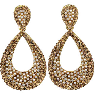 Jewels Capital Exclusive Golden White Earring Set /S 1843