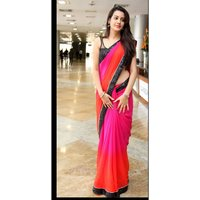 Roshni Fashions Orange  Pink Georgette Lace Saree With Blouse