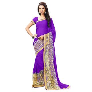 Aradhya Fashion Designer Embroidered Faux Georgette Blue Saree