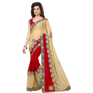 Aradhya Fashion Designer Embroidered Georgette  Lycra Maroon Saree