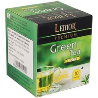 Lemor Ginger Flavored Green Tea Bag box (One Pack of 10 Teabag pieces) for Healthy Indian Beverage Drinkers (Brand Outle