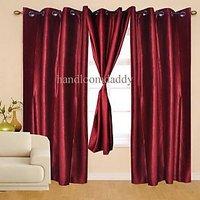 Sweet Home Pack Of 2 Maroon Plain Eyelet Door Curtain(crp02)
