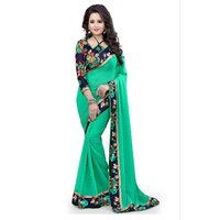 Roshni Fashions New Fancy Designer Sky Blue Coloured Georgette Saree With Blouse Piece(4TGGeorgetters blue)