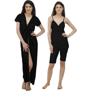 a0735664e1 Buy Arlopa 3 Pieces Nightwear in Satin Robe with Top and Capri ...