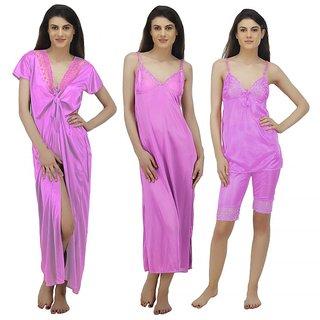 e28b81378b Buy Arlopa 4 Pieces Nightwear in Satin Robe Nighty Top and Capri Online -  Get 62% Off