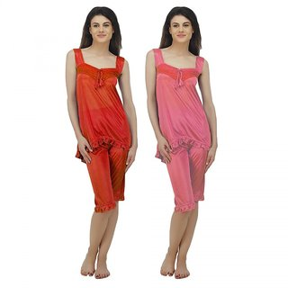 8802a9d65fd Buy Arlopa Nigh Suit Combo Pack of 2 in Satin Online - Get 66% Off