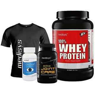 Medisys Active Fitness Combo Chocolate Whey Protein 1kg + Gym Active Joint Care Free T-Shirt  Calcium Plus
