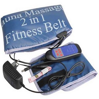 IBS SAUNABELT 2 in 1  Fitness Electric Body beauty Massager Heating remote control Vibrating Slimming Belt  (Blue)
