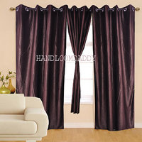 Sweet Home Pack Of 2 Brown Plain Eyelet Door Curtain(crp06)