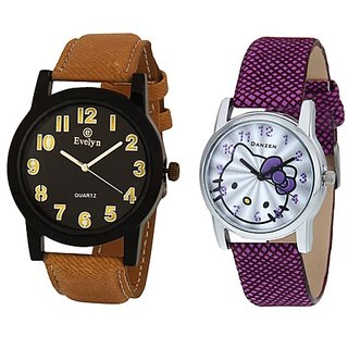 Evelyn Analog Leather Watches for Lovely Couple -eve-350-dz-457
